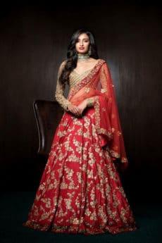 Golden and Red Combination Lehenga -Zardozi Fashion