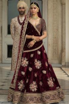 Maroon Lehenga-bridal Zardozi Fashion