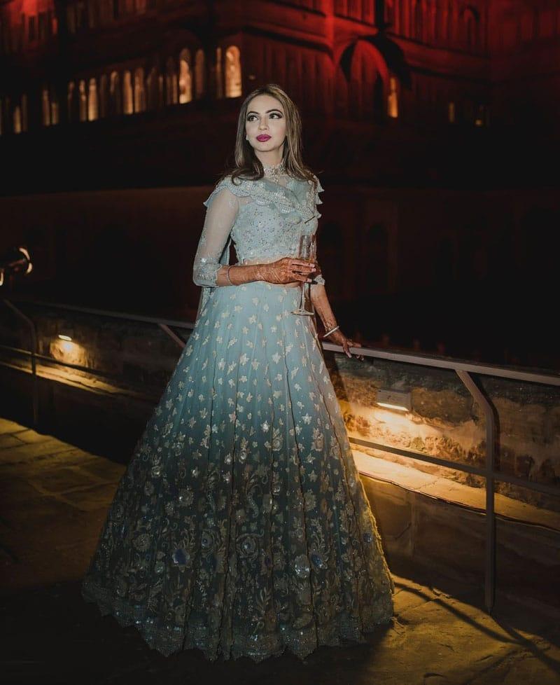 Ombre-Blue Sky blue Girlish Dress
