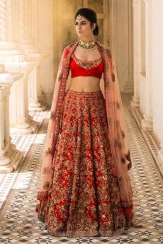 Bridal lehenga Red and Golden