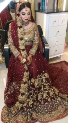 Bridal Lehenga Red and Golden Color